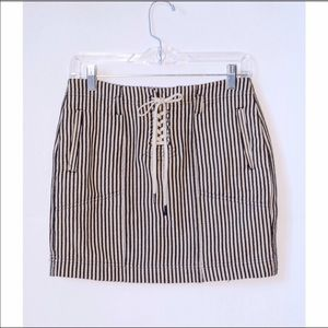 Madewell Striped Lace-Up Mini Skirt